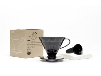Hario V60 Transparent Black Plastic Dripper Set 02