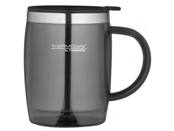 Thermos Thermocafe 450 ml Plastic and Stainless Steel Desk/Travel Mug Gunmetal