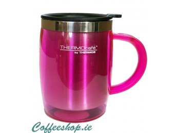 Thermos Thermocafe 450 ml Plastic and Stainless Steel Desk Mug  Pink